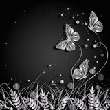 Grass and butterflies silhouettes background. Beautiful natural background with silhouettes of grass and butterflies. Silver illustration on dark background stock illustration