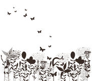 Grass and butterflies vector black silhuette Royalty Free Stock Photography