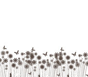 Grass and butterflies vector silhouette Royalty Free Stock Photo