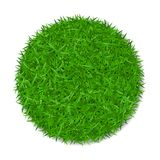 Grass circle 3D. Green plant, grassy round field, isolated on white background. Symbol of globe sphere, fresh nature. Design, clear earth. Ecology natural stock illustration