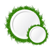 Grass and circles text spaces. illustration design Stock Images