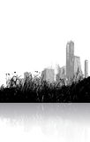 Grass and city reflected. Grass reflected in the water with cityscape on the background. Vector Royalty Free Illustration