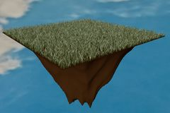 Grass clod floating in the sky Royalty Free Stock Photo