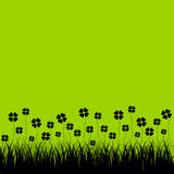 Grass with cloverleafs, green background. Vector illustration Royalty Free Stock Photo