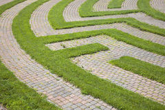Grass and Cobblestone Maze Stock Photo