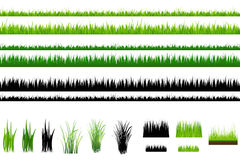 Grass collection, Isolated On White. Vector Stock Photos