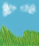 Grass copy space. Clip art painting of grass, vivid blue skys and dreamy clouds, ideal for copy space or stationery Stock Photo