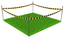 Grass Cordoned. Green grass lawn square cordoned off, 3d illustration, horizontal, isolated Royalty Free Stock Images
