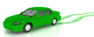Grass covered car - eco green transport Royalty Free Stock Photography
