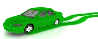 Grass covered car - eco green transport Stock Image