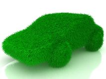 Grass covered car - eco green transport Stock Photos