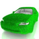 Grass covered car - eco green transport Royalty Free Stock Image