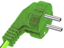 Grass covered electrical plug Stock Photos