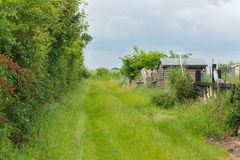 Grass covered lane with garden sheds Royalty Free Stock Photos