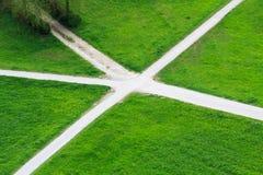 Grass crossroads Stock Images