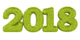 2018 from grass, 3D rendering Royalty Free Stock Photos