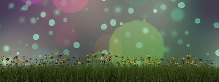 Grass and daisy - 3D render Royalty Free Stock Image