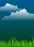 Grass and Dark Sky Background Royalty Free Stock Photo