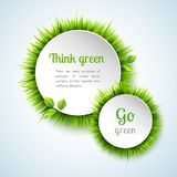 Grass double circle frame set Royalty Free Stock Photography