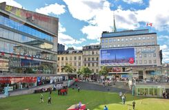 A grass dressed Sergelstorg. Sergel Square in Stockholm is covered with a green lush lawn stock photo