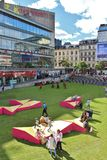A grass dressed Sergelstorg. Sergel Square in Stockholm is covered with a green lush lawn stock images