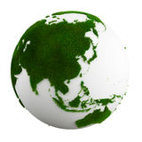 Grass earth - asia. 3d rendering of a grass earth - asia Royalty Free Stock Photography