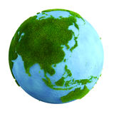 Grass earth - asia. 3d rendering of a grass earth with water - Asia Stock Image