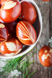 Grass in Easter Decor on Eggs Royalty Free Stock Photos