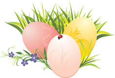 Grass, Easter eggs and flowers with ladybird royalty free stock image
