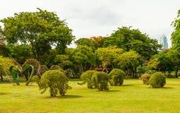 Grass Elephants in Lumpini park Royalty Free Stock Image