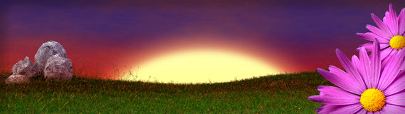 Grass field banner with rocks and pink flowers on border. 3D render Royalty Free Stock Photography