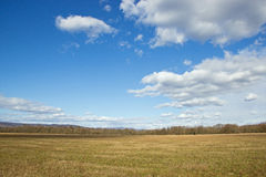 Grass Field with Blue Sky and White Clouds. Flat Country with Big Grass Field Lined with Trees Blue Sky and White Clouds Royalty Free Stock Photos