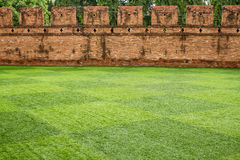 Grass field in front of ancient city wall Royalty Free Stock Image