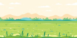 Grass Field Game Background Flat Landscape. Green grass field with plants along meadow, ground with stones near the bushes, nature game background in simple vector illustration