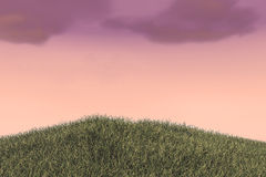 Grass Field Hills and Cloudy Sky stock image