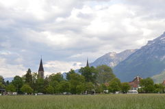 Grass field in Interlaken Royalty Free Stock Photos