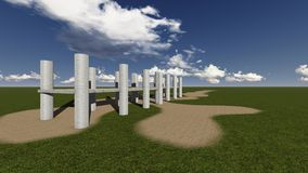 Grass field. With pillars made in 3d software Stock Photo