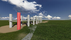 Grass field. With pillars made in 3d software Royalty Free Stock Photography