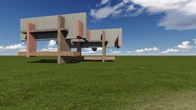 Grass field with pillars and walls. Made in 3d software Royalty Free Stock Images