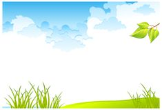 Grass field and sky. Green grass field and blue cloudy sky,  illustration Stock Photography