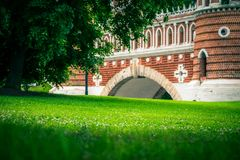 The grass field at Tsaritsyno Palace and public park in Moscow, Russia. royalty free stock image