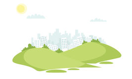 Grass field vector landscape with buildings in the background. Vector illustration Stock Photography