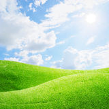 Grass fields and sun sky Royalty Free Stock Images