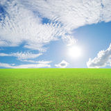 Grass fields and sun sky with beautiful cloud Stock Photo