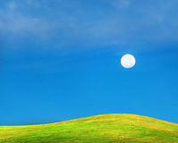 Grass filed with sky and the moon Royalty Free Stock Image
