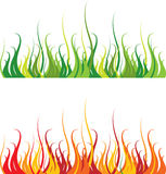 Grass and fire Stock Photo