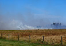 Grass Fire On Alberta Prairie Royalty Free Stock Photo