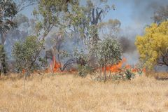 Grass fire near Alice Springs, Northern Territory Stock Images
