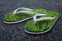Grass flip-flops. Pair of flip-flogs covered with grass on asphalt urban surface Stock Images