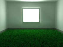 Grass Floor Room. Empty room with floor covered in grass, 3d Stock Images